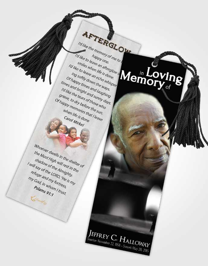 Funeral Bookmark Template Black and White Candle Light