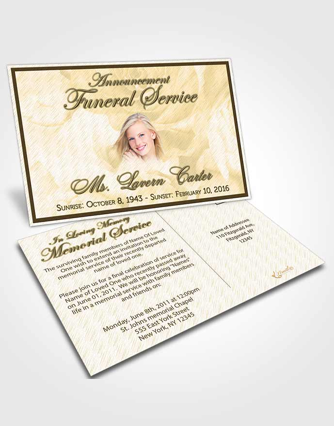Funeral Announcement Card Template Autumn Petals in the Wind