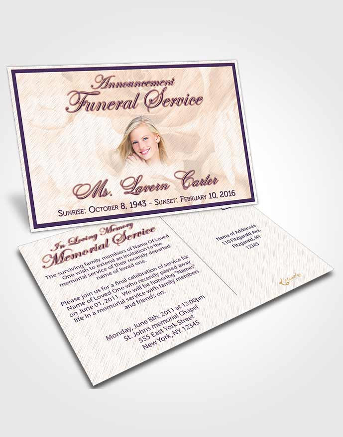 Funeral Announcement Card Template Lavender Sunrise Petals in the Wind