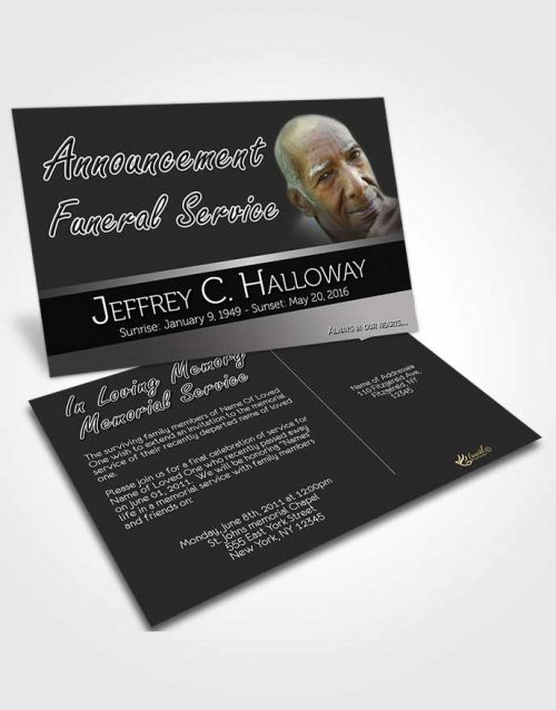 Funeral Announcement Card Template Tranquility Black and White Desire Dark