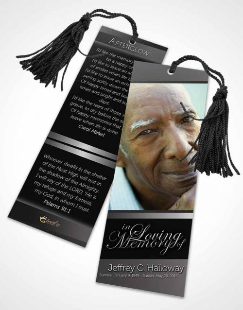 Funeral Bookmark Template Black and White Desire Tranquility Dark
