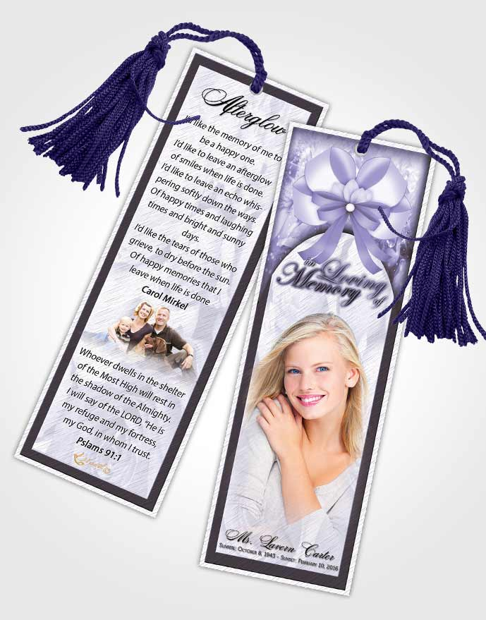 Funeral Bookmark Template Soft Petals in the Wind