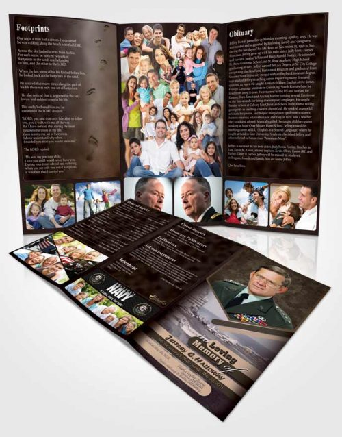 Obituary Template Trifold Brochure 1st Navy Sailor Bliss
