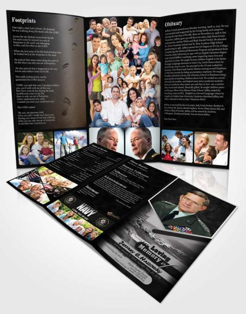 Obituary Template Trifold Brochure 1st Navy Sailor Freedom