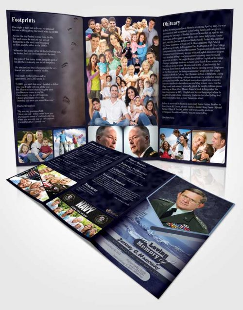 Obituary Template Trifold Brochure 1st Navy Sailor Sunset