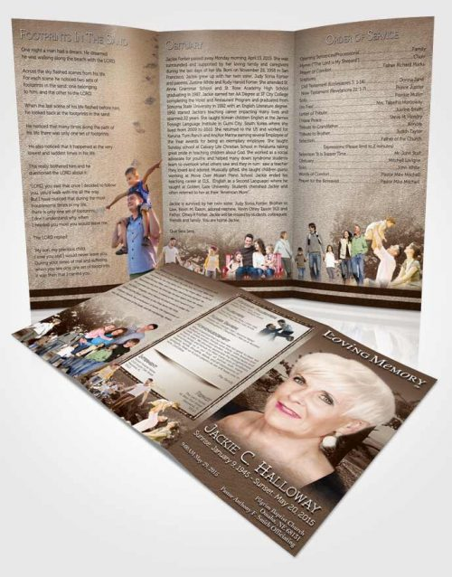 Obituary Template Trifold Brochure A Blissful Golden Tree