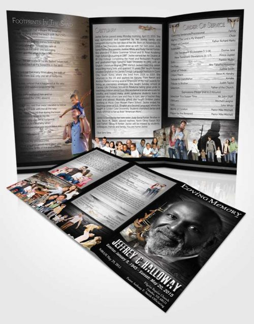 Obituary Template Trifold Brochure A Hunters Catch Black and White Memories