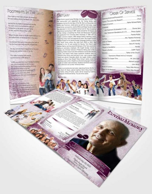 Obituary Template Trifold Brochure Amethyst Hockey Star