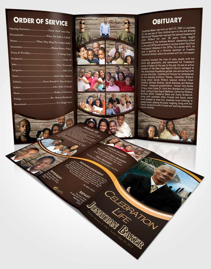 Obituary Template Trifold Brochure Angel Essence Journey