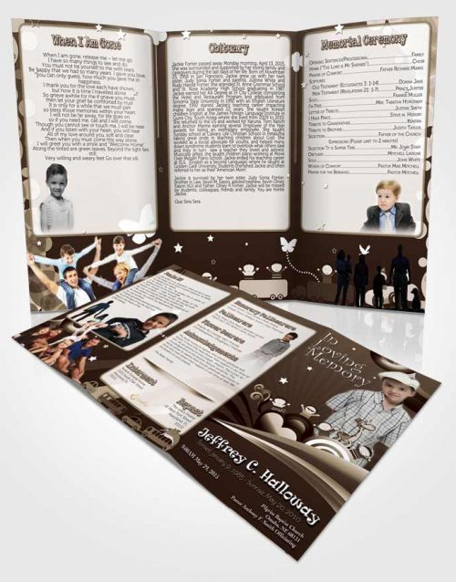 Obituary Template Trifold Brochure Autumn Serenity Childs Journey