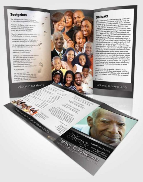 Obituary Template Trifold Brochure Black and White Desire Tranquility Light