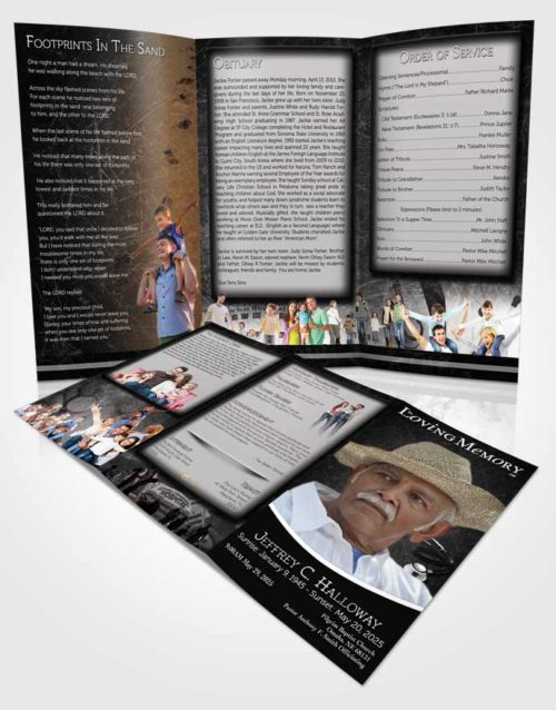 Obituary Template Trifold Brochure Black and White Doctor