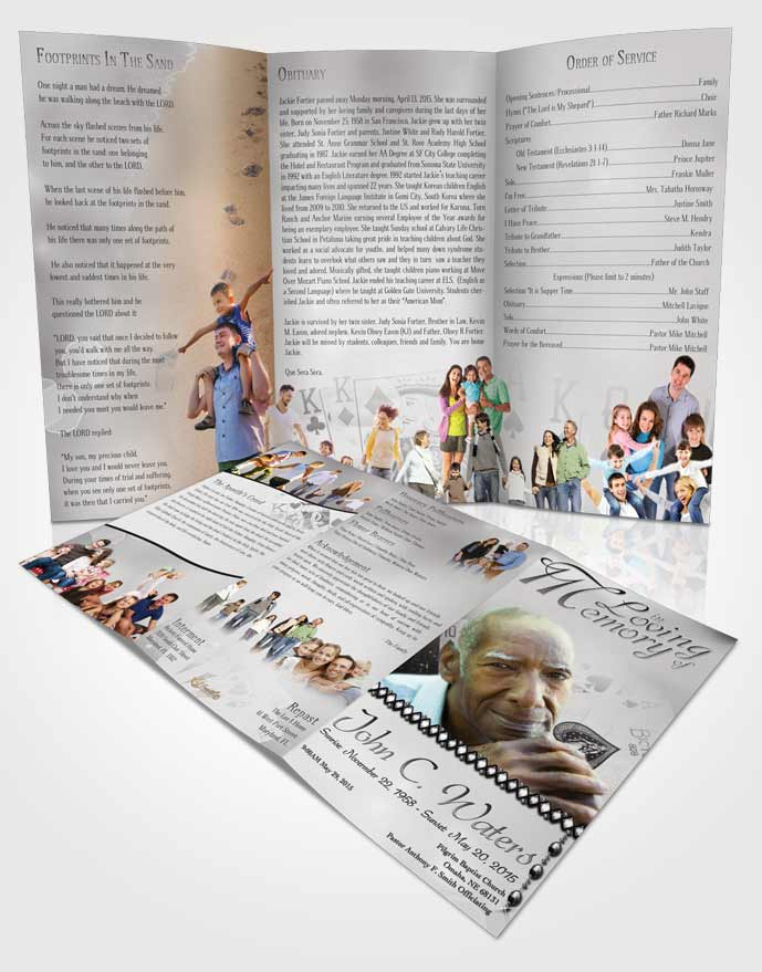 Obituary Template Trifold Brochure Black and White King of Hands