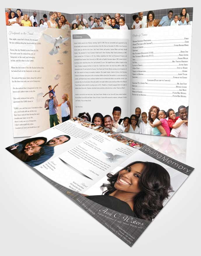 Obituary Template Trifold Brochure Black and White Simplicity