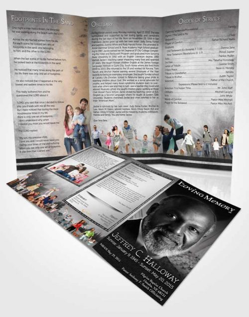 Obituary Template Trifold Brochure Black and White Sunflower
