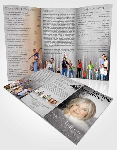 Obituary Template Trifold Brochure Black and White Walk in the Woods