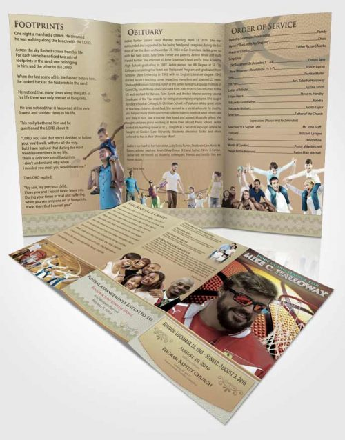 Obituary Template Trifold Brochure Blissful Basketball Honor