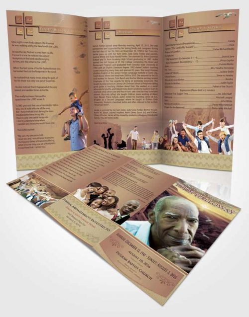 Obituary Template Trifold Brochure Blissful Canyon Escape
