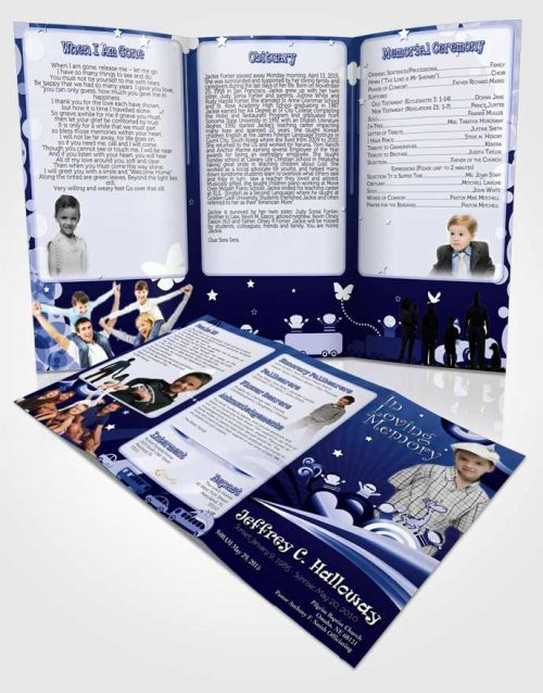 Obituary Template Trifold Brochure Blue Eyes Childs Journey