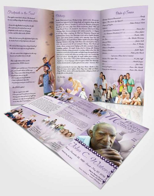 Obituary Template Trifold Brochure Bowling Days Lavender Honor