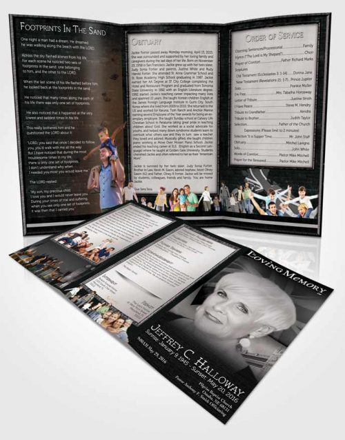 Obituary Template Trifold Brochure British Black and White Pride