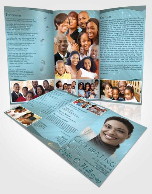 Obituary Template Trifold Brochure Coral Reef Serenity