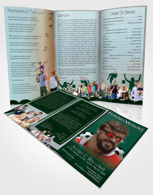 Obituary Template Trifold Brochure Coral Reef Soccer Star