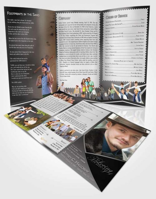 Obituary Template Trifold Brochure Crystal Harmony Black and White Light