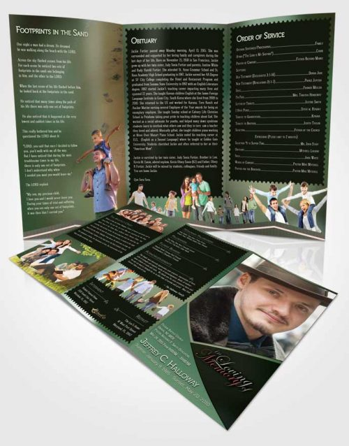 Obituary Template Trifold Brochure Crystal Harmony Pistachio Dark