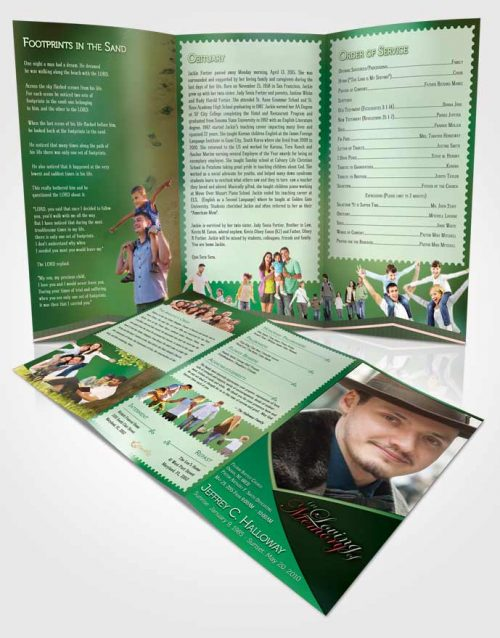 Obituary Template Trifold Brochure Crystal Harmony Shamrock Green Light