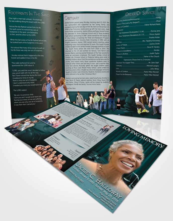 Obituary Template Trifold Brochure Cyan Judge Justice