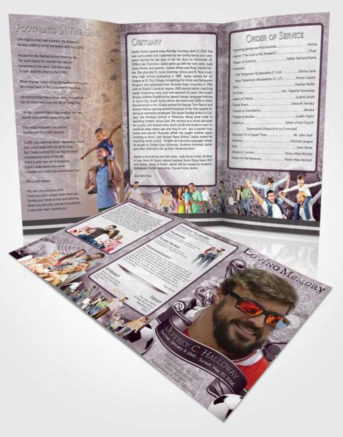 Obituary Template Trifold Brochure Deep Lavender Lover Soccer Superstar