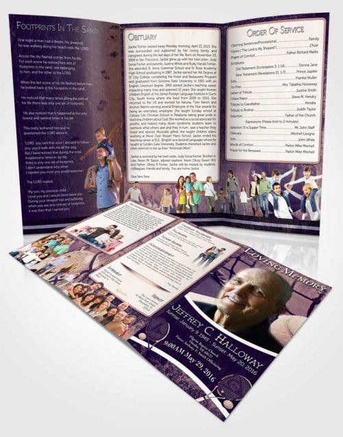 Obituary Template Trifold Brochure Deep Lavender Tennis Star