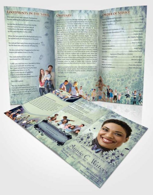 Obituary Template Trifold Brochure Deep Love Sunny Sunflowers