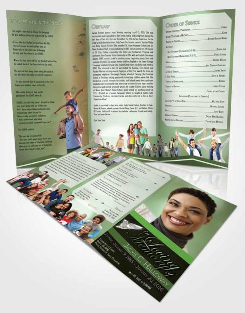 Obituary Template Trifold Brochure Divine Essence Forest Laughter