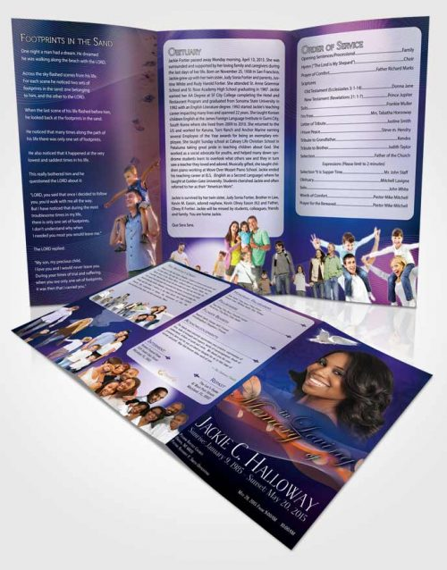 Obituary Template Trifold Brochure Divinity Deep Blue Ocean