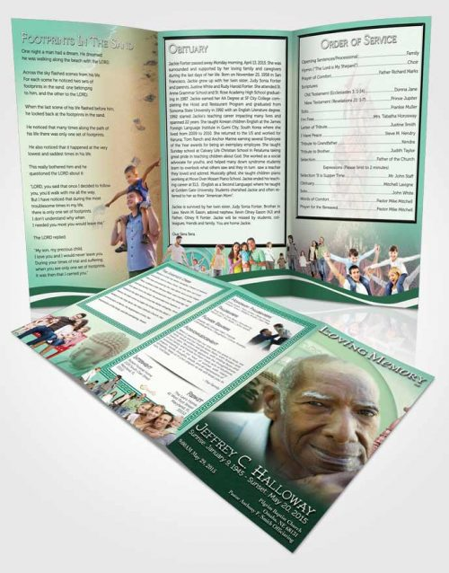 Page Grad Fold Funeral Program Template Brochure Emerald