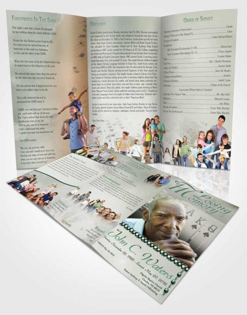 Obituary Template Trifold Brochure Emerald Cards