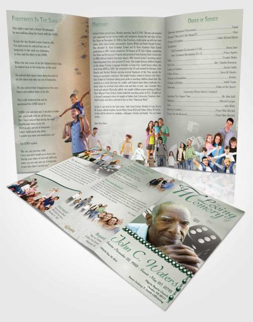 Obituary Template Trifold Brochure Emerald Double Down
