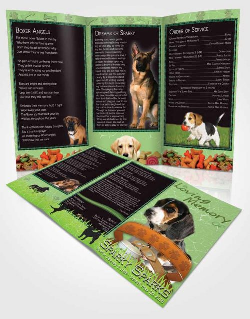 Obituary Template Trifold Brochure Emerald Sparky the Dog