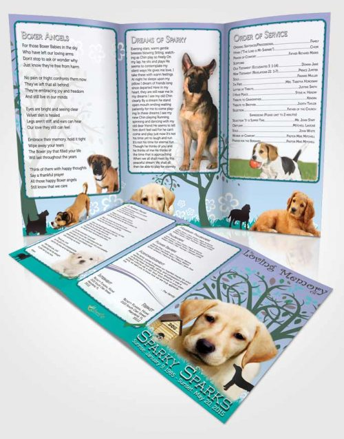 Obituary Template Trifold Brochure Evening Doggy Heaven