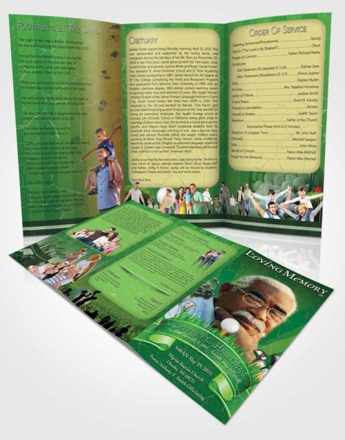 Obituary Template Trifold Brochure Forest Green Golf Star