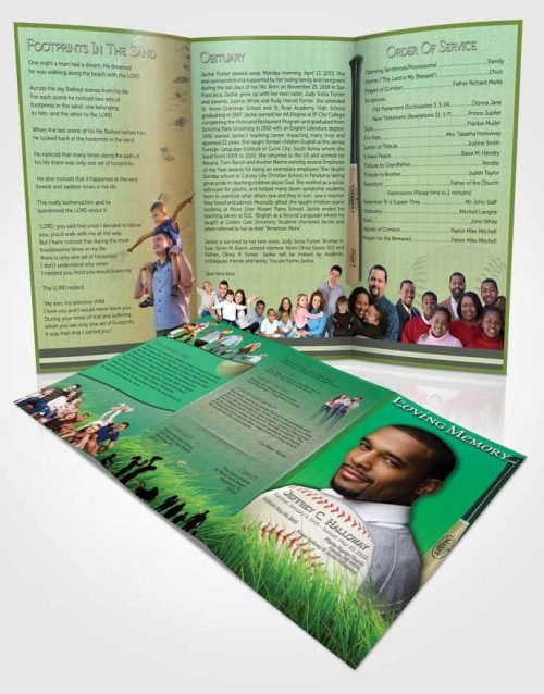 Obituary Template Trifold Brochure Forest Magic Baseball Star Light