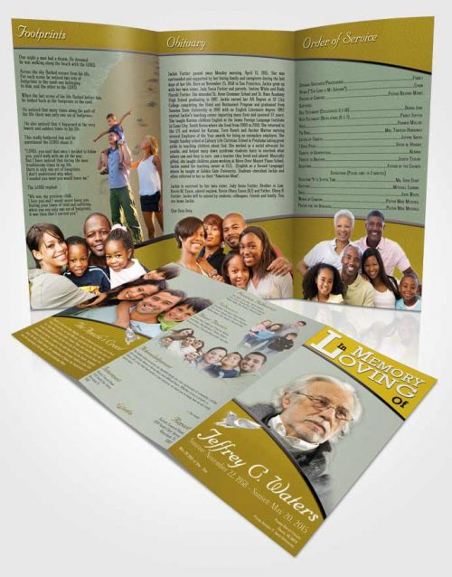Obituary Template Trifold Brochure Golden Clarity