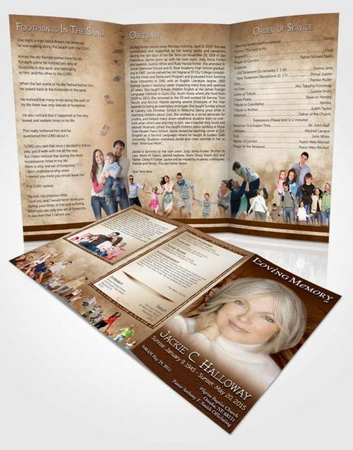 Obituary Template Trifold Brochure Golden Dandelion Heaven