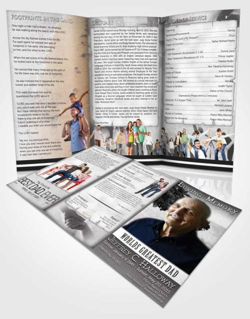 Obituary Template Trifold Brochure Greatest Dad Black and White
