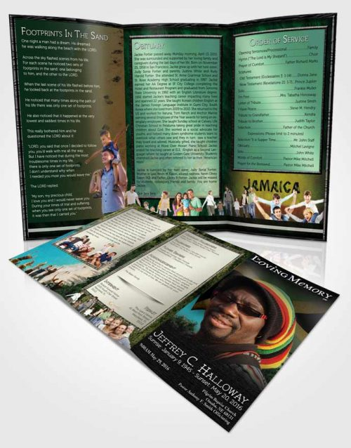 Obituary Template Trifold Brochure Jamaican Natural Beauty