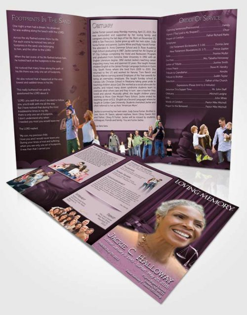 Obituary Template Trifold Brochure Lavender Judge Justice