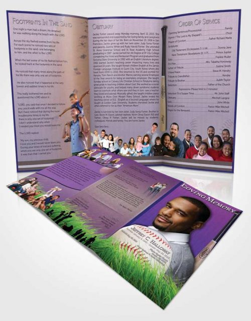 Obituary Template Trifold Brochure Lavender Love Baseball Star Light