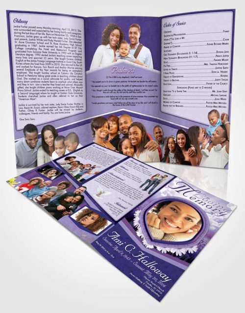 Obituary Template Trifold Brochure Lavender Splendor